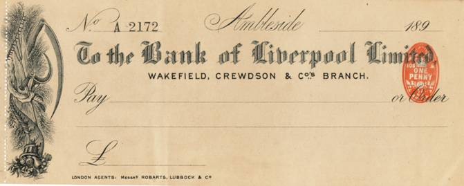 1897 Bank of Liverpool Wakefield Crewdson Ambleside Cheque MBA