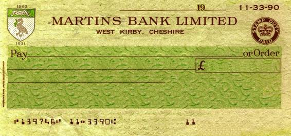 1967 West Kirby Cheque